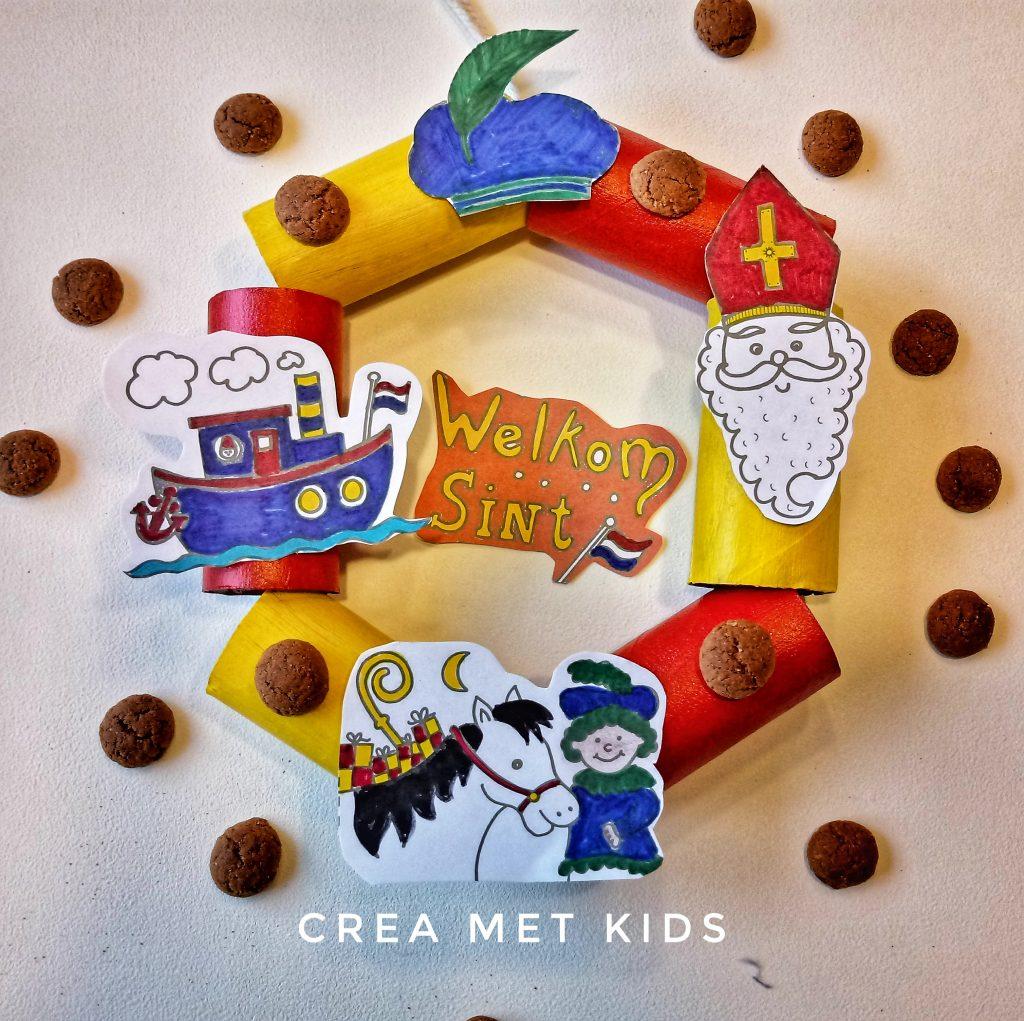 Sinterklaas krans maken van wc rolletjes met gratis mini- kleurplaatjes » Crea met kids