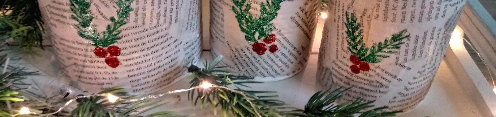 Kerstblik pimpen met kranten en Crayola glitterlijm   Kerst   blikken   kranten   Kerst   Krantenkunst   Blikpimpen   kerstdecoratie   Recycleknutsel   Recyclen   Glitterlijm   Knutselen   Creametkids