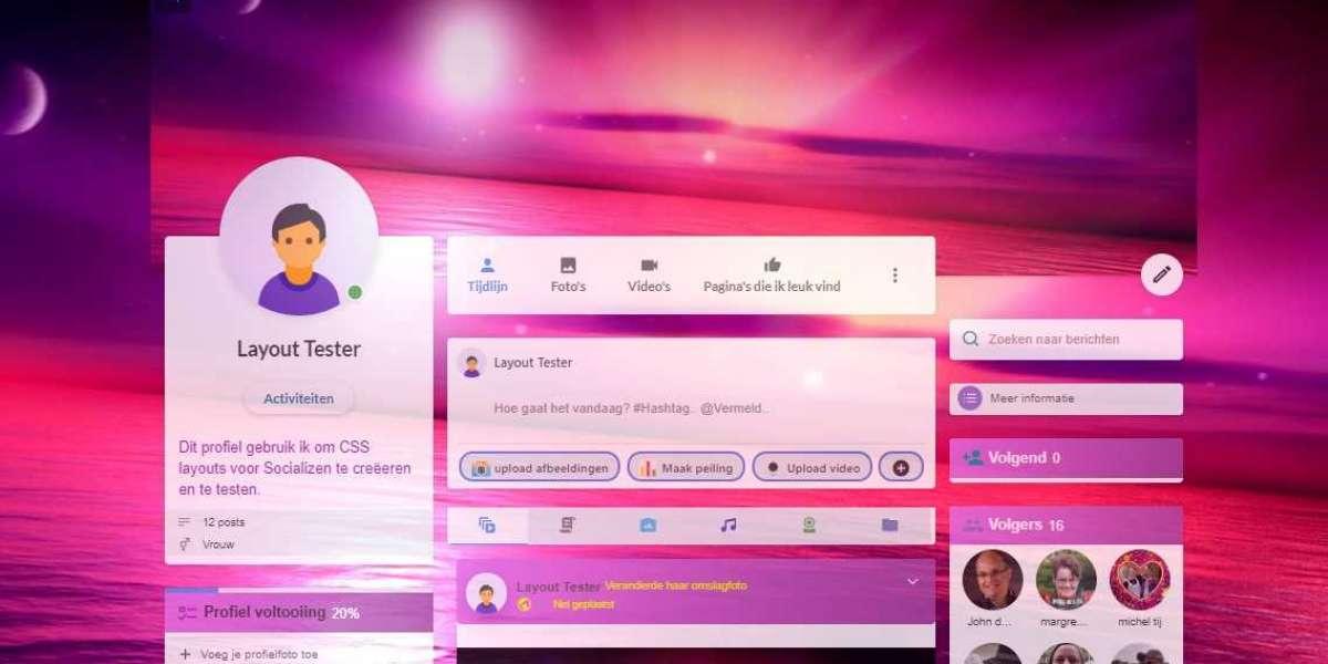 Mooie, roze 'Pinky' layout voor jouw Socializen Profielpagina