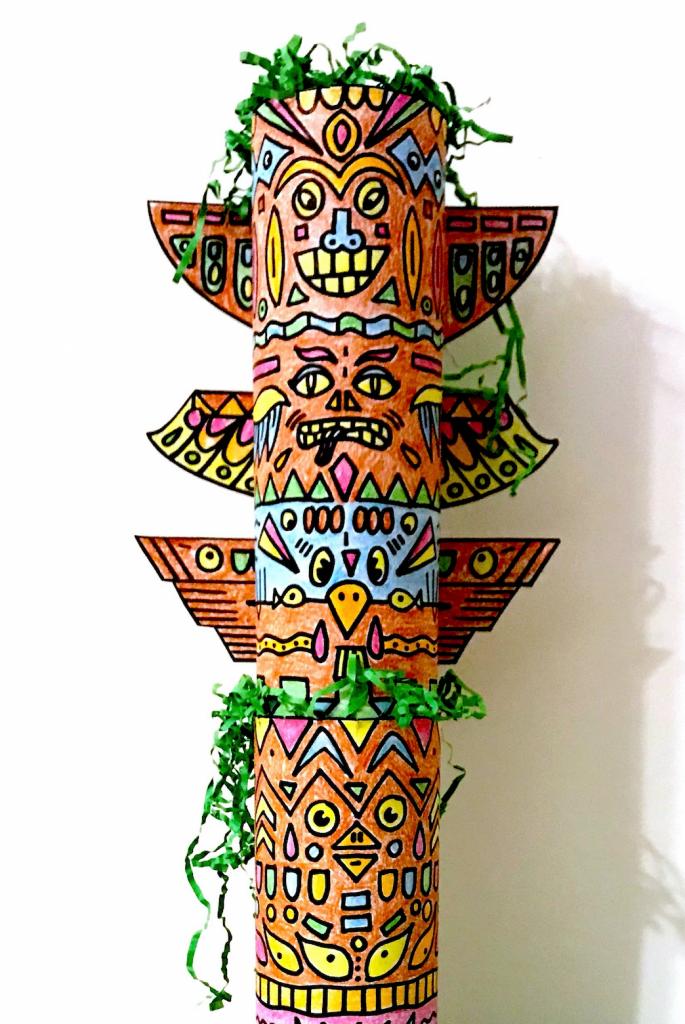 Indianen Totempaal knutselen - met printables » Crea met kids