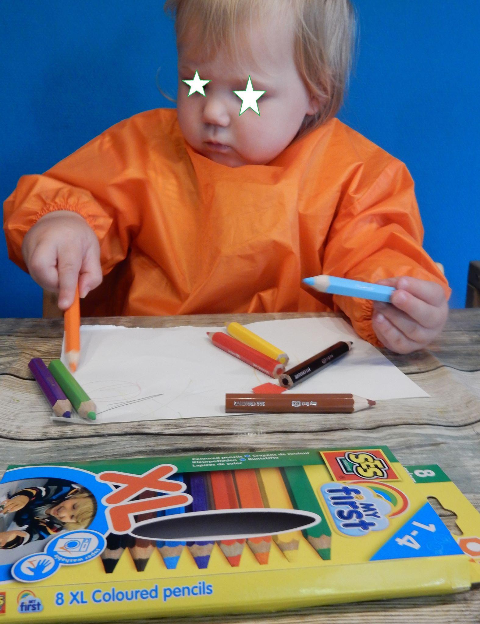 Kleuren met de My First kleurpotloden van Ses Creative » Crea met kids