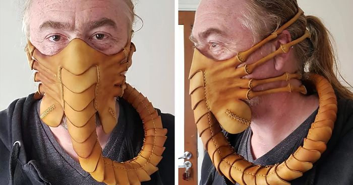 To Protect Himself From The Coronavirus, Artist Crafts A 59-Piece Leather Mask In The Shape Of A Facehugger | Bored Panda