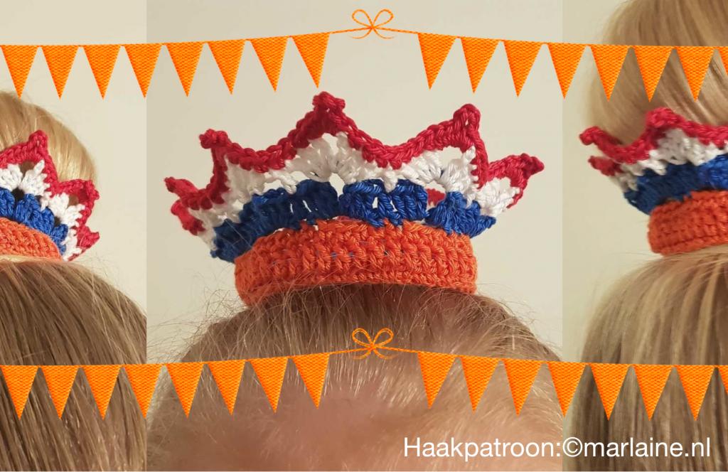 Gratis haakpatroon Kroontje en Strikje - haken voor Koningsdag » Crea met kids