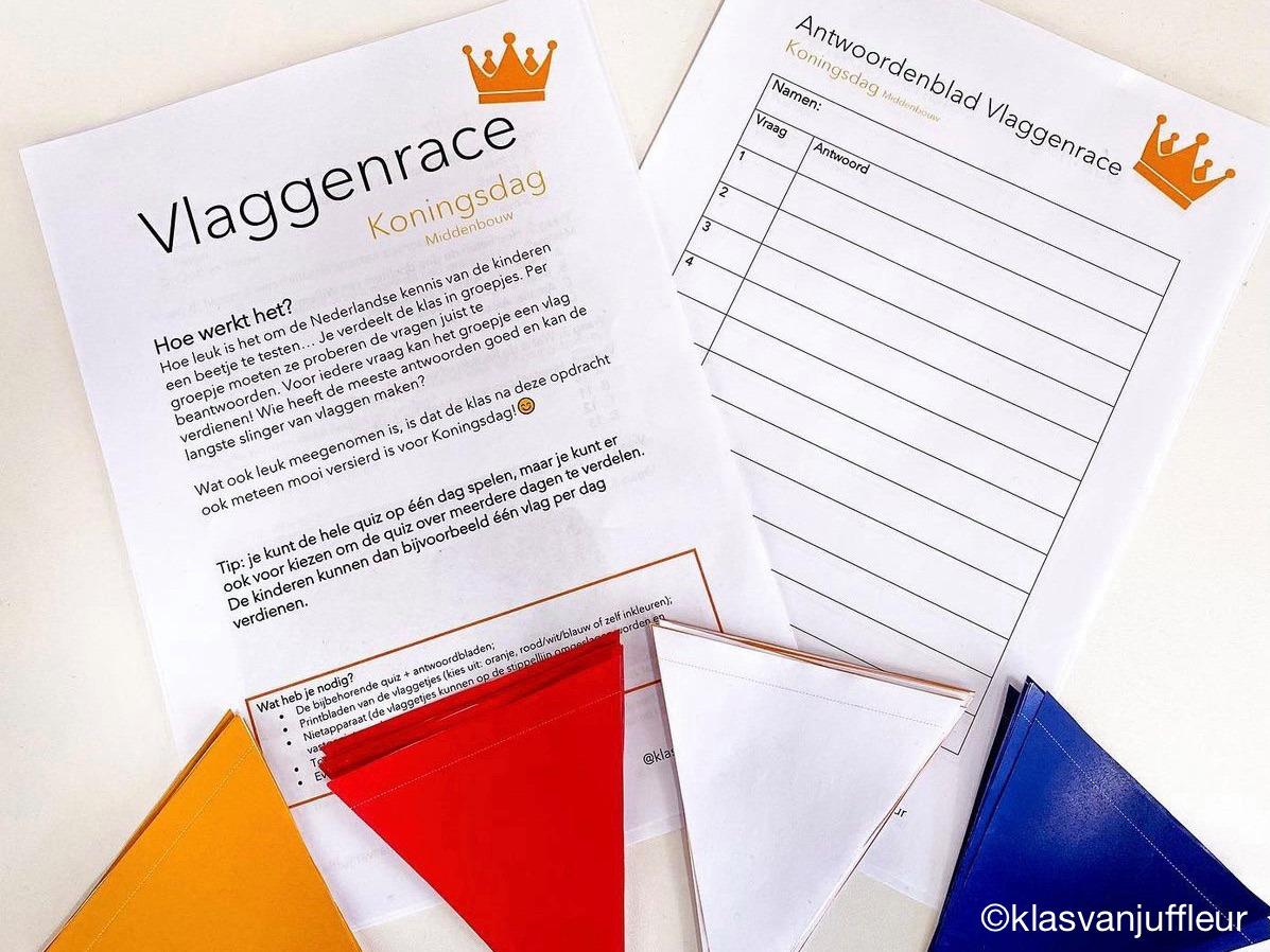 Koningsdag Vlaggenrace Quiz (Middenbouw) » Crea met kids